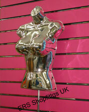 Female Hanging Freestanding Body Form Mannequin CHROME with STAND Big Bust