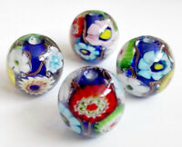 10pcs exquisite handmade Lampwork glass beads blue wheel flower 16mm