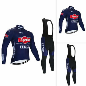 2021 New Men's Cycling Long Sleeve Jersey Bib Tights Set Shirt Padded Pants Team