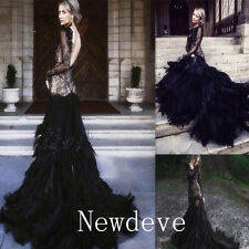 Black Sexy Feathers Wedding Dress Backless Sheath Bridal Ball Gown Custom Train