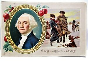 1915 PATRIOTIC POSTCARD WASHINGTON AND LAFAYETTE AT VALLEY FORGE