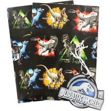 Jurassic World wrapping paper - Gift Wrap 2 sheets 49cm x 70cm Dinosaurs