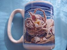 NAUTICAL SEA SHELLS IN A BASKET W/ BEACH COFFEE TEA MUG, 12 OZ.