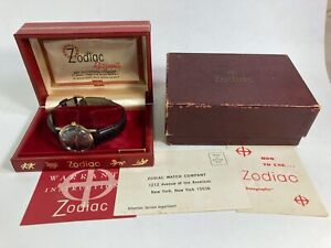 Vintage 10k gold filled Zodiac Automatic Hermetic date watch w/box & papers