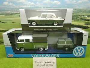 Motor Max etc 1:24 VW T1 mit Anhänger + Wolga GAZ M21 VoPo in OVP (YX) G0865