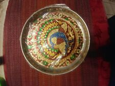 9 Inch Steel Puja Thali Plate With Peacock Pattern