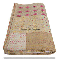 Kantha Beige Patchwork Throw Quilts Ethnic Bedroom Quilts Queen Size Decorative
