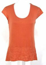 Joseph A. Top Sz S Pumpkin Orange Rayon Stretch Hi-Low Tunic Small Womens