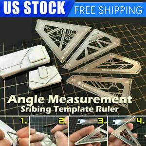 4 in 1 Model Building Tool Angle Measurement Scribing Ruler Template Ruler