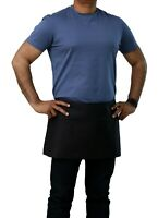 """Top Quality Black 12"""" x 26"""" Waist Apron with Pockets - Pack of 2 Aprons"""