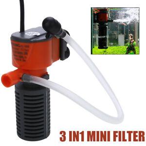 3 en 1 Mini Filtre Réservoir Interne Aquarium Pompe Oxygène Eau Purificateur