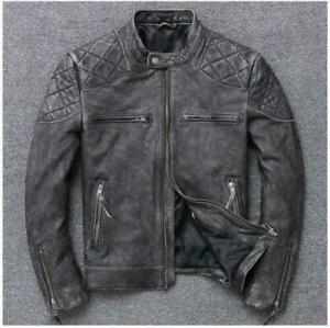 Men's Motorcycle Biker Cafe Racer Vintage Distressed Black Real Leather Jacket