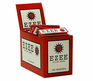 Ezee Red Standard Size Rolling Papers box of 100 Booklets