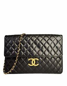 Chanel Vintage Oversized Black Quilted Lambskin Leather CC Logo Jumbo Maxi Bag