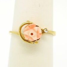 Vintage 10k Yellow Gold Carved Pink Coral Rose Flower & Single Cut Diamond Ring