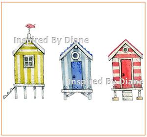 Furniture & Wall clear STICKER / Cut & Stick / Furniture Decal / Beach Huts 0025