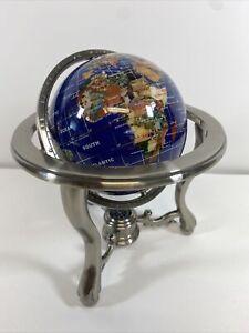10 Inch Tall World Globe With Semi Precious Gemstones