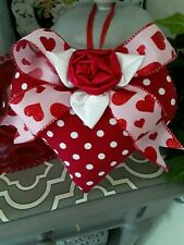 Shabby Valentines Red Polka Dot Hearts Decorative Heart Ornament
