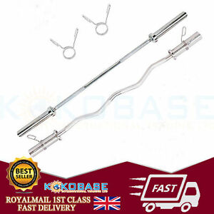 """UK Olympic Bar 2"""" Weight Lifting Barbell Weights & Spring Collars Gym Fitness"""