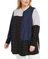 Alfani Women's 1x Plus Size Tunic Polka Dot Button Up Top - Blouse, $86, NwT