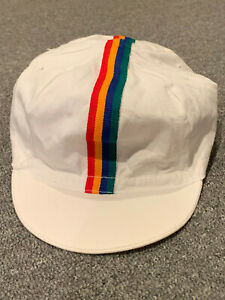 Vintage USA Olympics Cycling Hat Rainbow Stripe Cap Painters Team Race