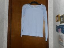 VICTORIA'S SECRET PINK LIGHT BLUE WITH PINK DOG & LACE LONG SLEEVE SHIRT SIZE XS