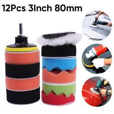 12 3Car Polish Polishing Pads Sponge Wool Buffing Waxing Pad Kit Drill Adapter