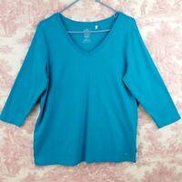 IZOD Woman 1X Top Blue 100% Cotton Stretch 3/4 Sleeve T shirt