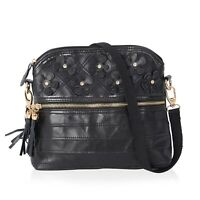 Black with 3D Flower Pattern Leather Crossbody Bag with Removable Shoulder Strap