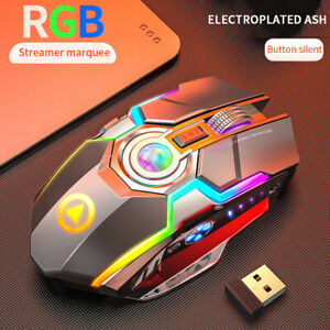 Wireless Rechargeable Gaming Mouse Silent Ergonomic 7 Keys RGB Backlit Computer