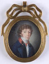 """Portrait of a young gentleman"", fine German miniature/ organic wafen, ca. 1800"