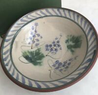 "Lovely Studio Art Pottery Bowl hand-painted Grape Motif signed 9"" beige  green"