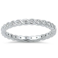 Sterling Silver .925 Infinity CZ Promise Eternity Wedding Band Ring Size 4-10