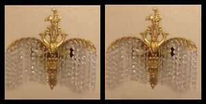 Pair Antique French C1920s Facet Cut Crystal Waterfall Wall Light Chandeliers