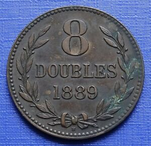 Guernsey 8 Doubles Coin~1889 (H) National Arms~KM#7~Bronze 9.6g~VF~#1196
