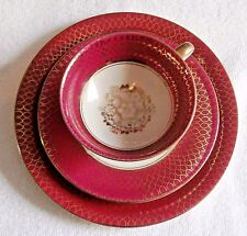 VINTAGE SCHIRNDING BAVARIA RED AND GOLD TEACUP,SAUCER & PLATE PORCELAIN, CHINA