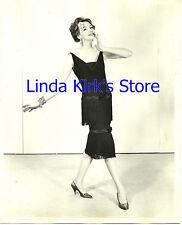 Vintage Fashion Model Wearing Black Flapper Dress Flower In Hair 1950s B&W 8x10