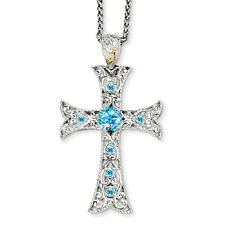 """Shey Couture Sterling Silver w/14k Gold Accent Blue Topaz Cross Necklace 18"""""""