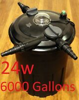 Jebao 24 watt filter Pressurized Pond Filter bio Koi Fish UV backwash 6000 gal