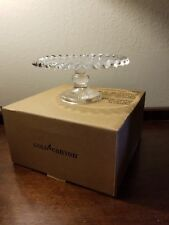 New Gold Canyon Ruffled Candle Pedestal Clear Glass Candle Holder NIB
