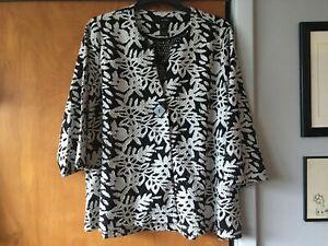 NWT Plus Size 1X Ali Miles Black and White 3/4 SL Lace Jacket