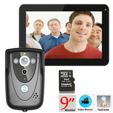 "9"" TFT Color Monitor Video Doorbell PIR Record Intercom System IR Camera US"
