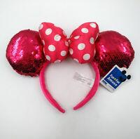 Disney Park Minnie Mouse Ears Festival Mickey Cute Red Bow Sequins Cos Headband