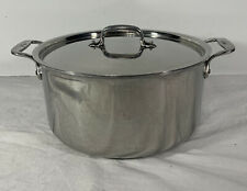 "ALL-CLAD Stainless Steel 6 Quart Stock Pot With Lid Side Handles 11"" Clean EUC"