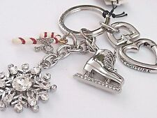 NEW JUICY COUTURE ICE SKATE SNOWFLAKE CANDY CONE KEY RING KEY FOB BAG RARE