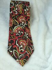 Vera Bradley Baekgaard Abstract Floral Silk Geometric Tie Necktie Brown Red