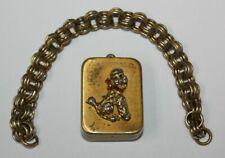 Vintage Swiss Breitler Poodle Music Box Charm w/ Bracelet Chain Works! [080Chr]