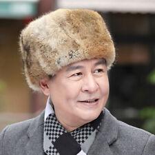 Fur hat men's winter rabbit fur hat thick outdoor warm hat elderly dad hat