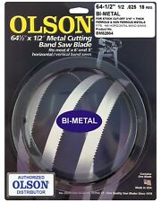 "Olson Bi-Metal Metal Cutting Band Saw Blade 64-1/2"" inch x 1/2"", 18TPI, USA"