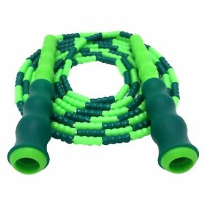 Jump Rope Adjustable with Anti-Slip Grip Soft Plastic Beaded Tangle-Free, Green